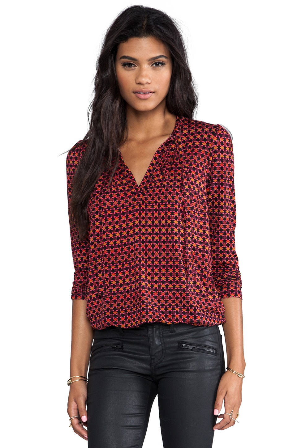 Plenty by Tracy Reese Dot Grid Printed Jersey Tie Neck Blouse in Port