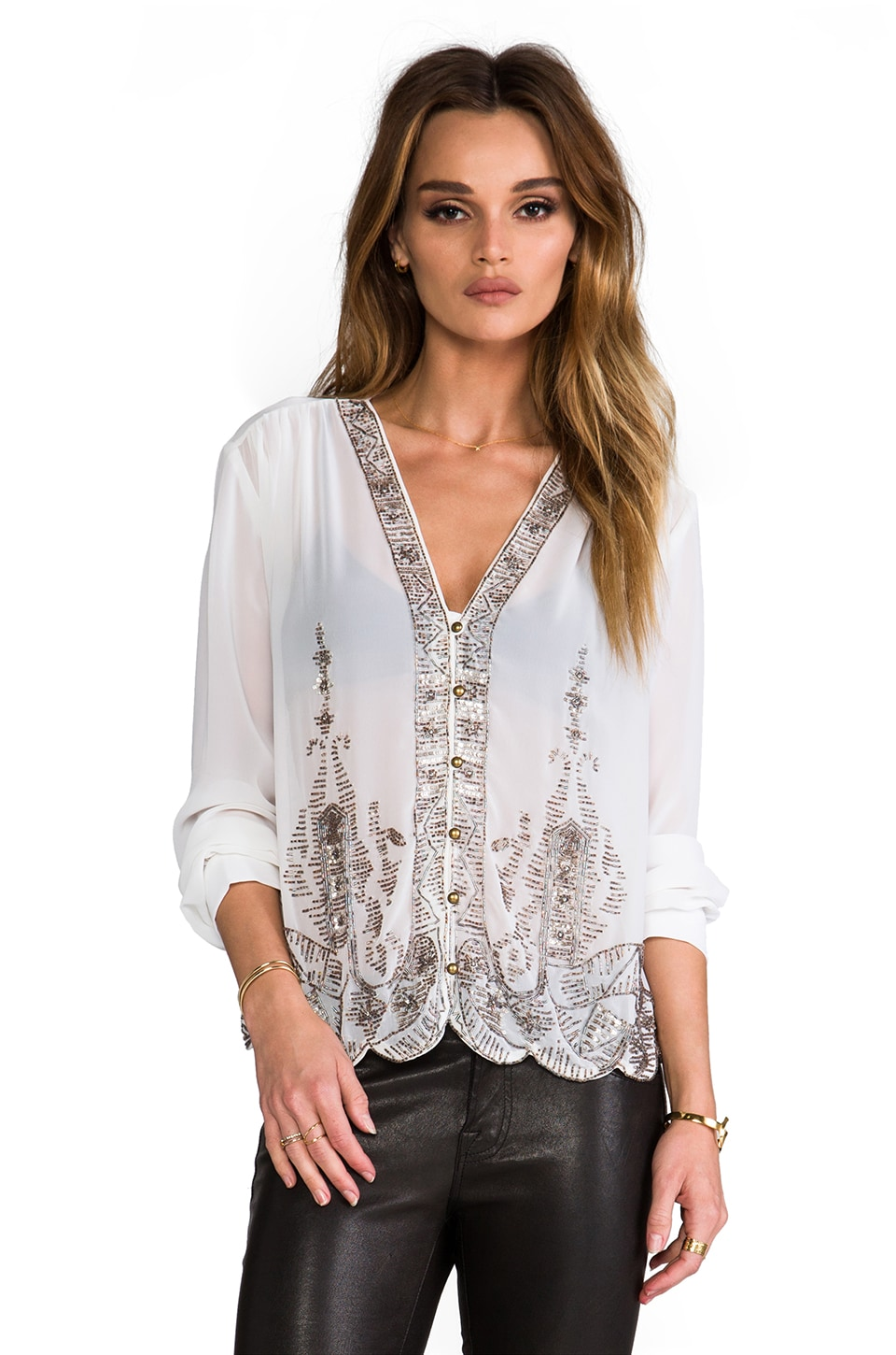 Plenty by Tracy Reese Embellished Swingy Blouse in Vanilla