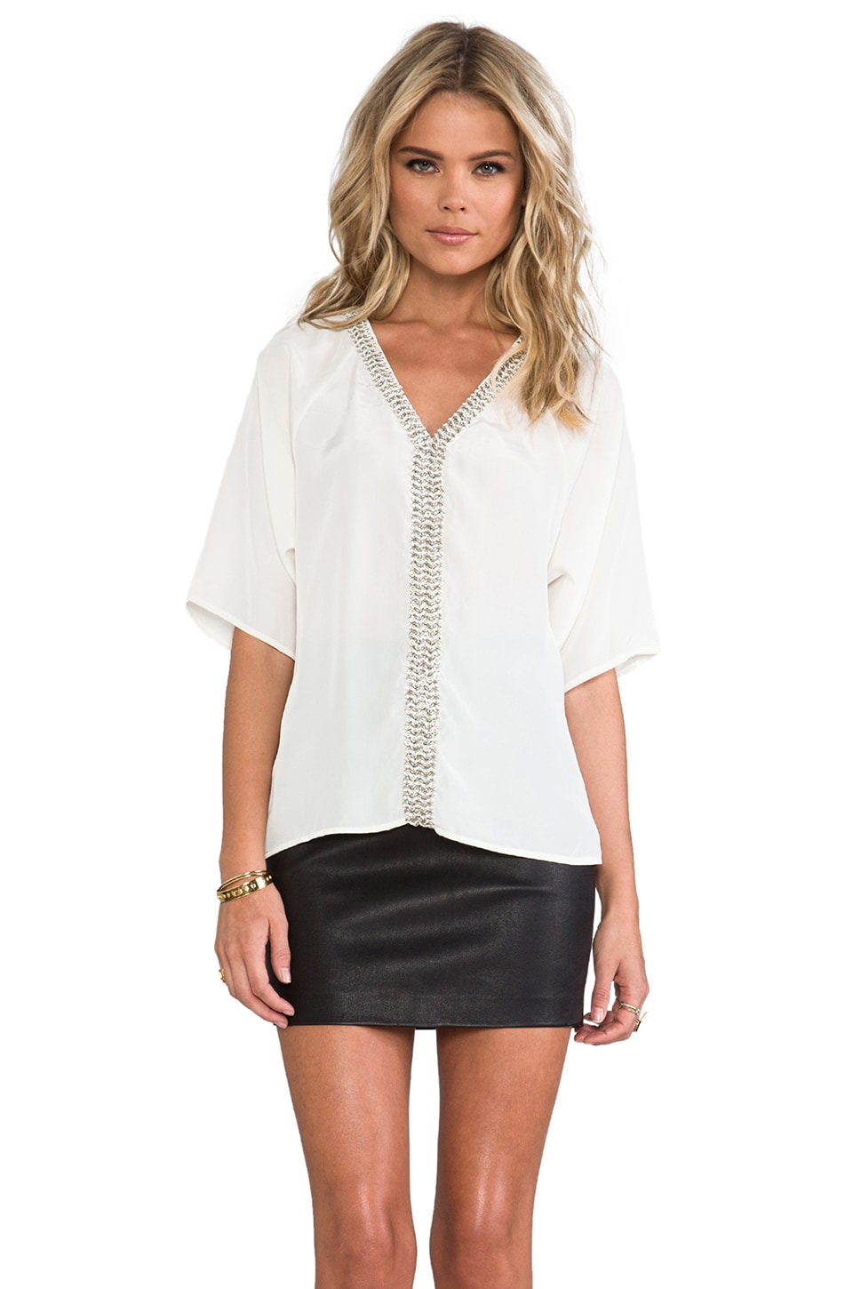 Plenty by Tracy Reese Chain-link Peasant Top in Ivory