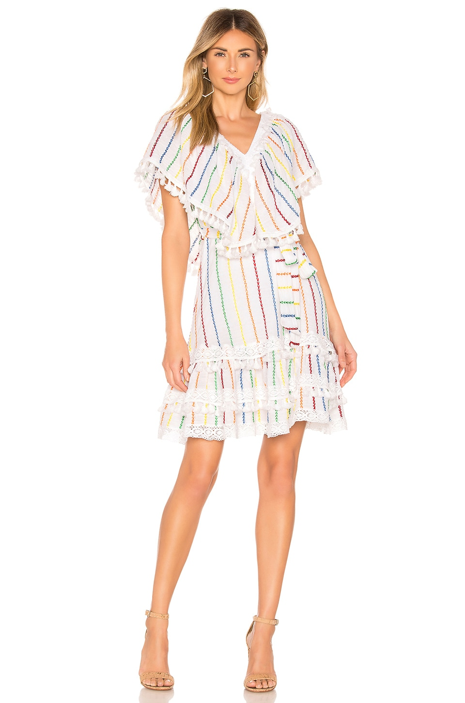 Place Nationale Tende Wing Sleeve Mini Dress in White Candy Stripe