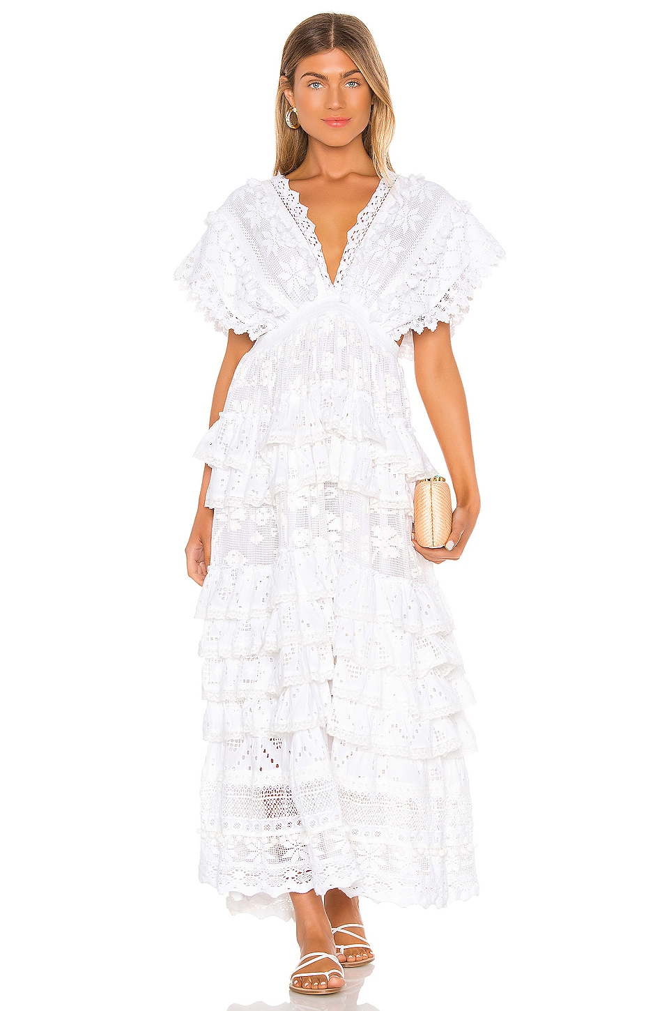 Place Nationale Le Savel Backless Tiered Maxi Dress in White Broderie Anglaise & Lace