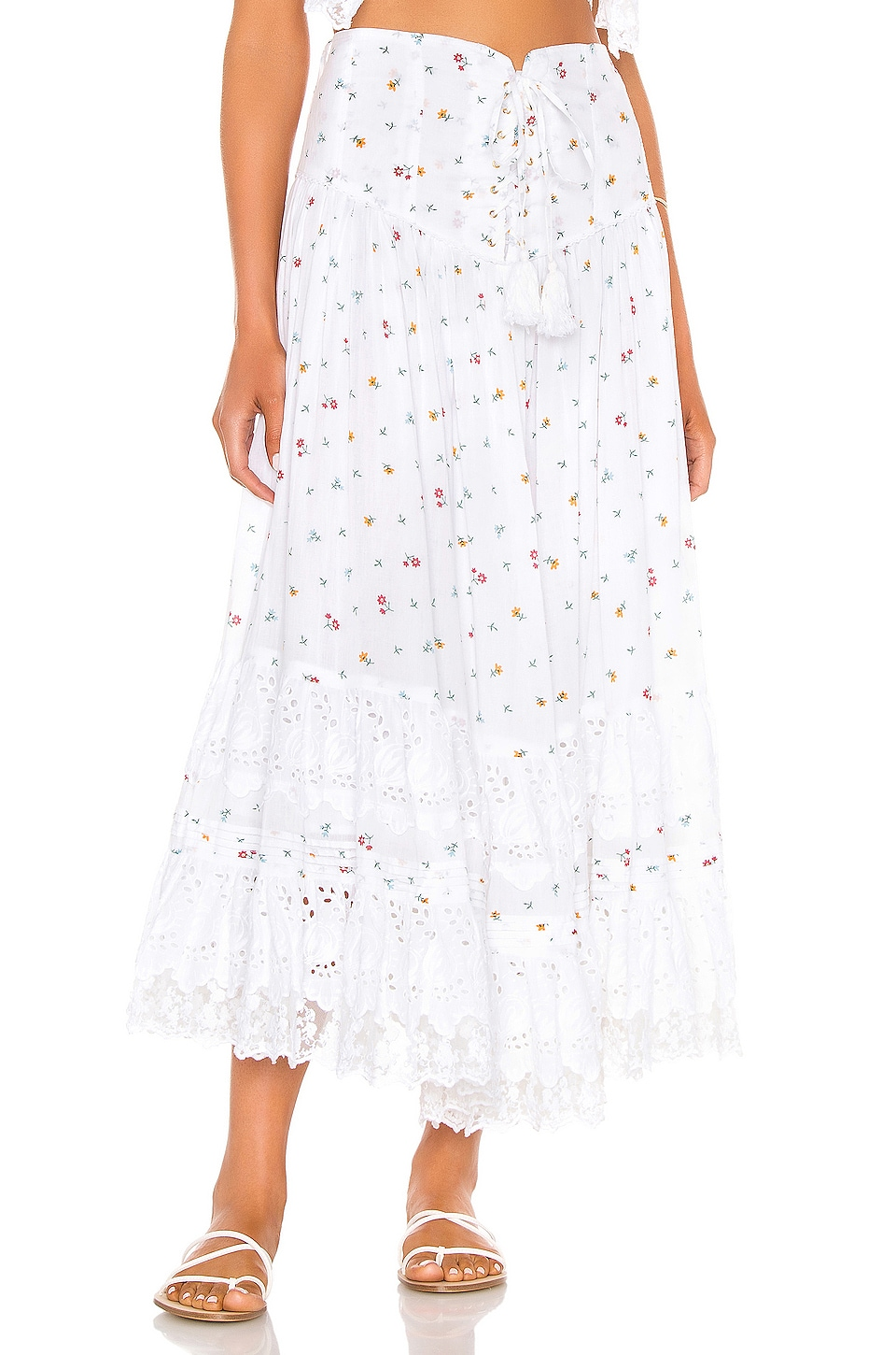 Place Nationale L'Etage Floral Print Tiered Maxi Skirt in Floral Cotton