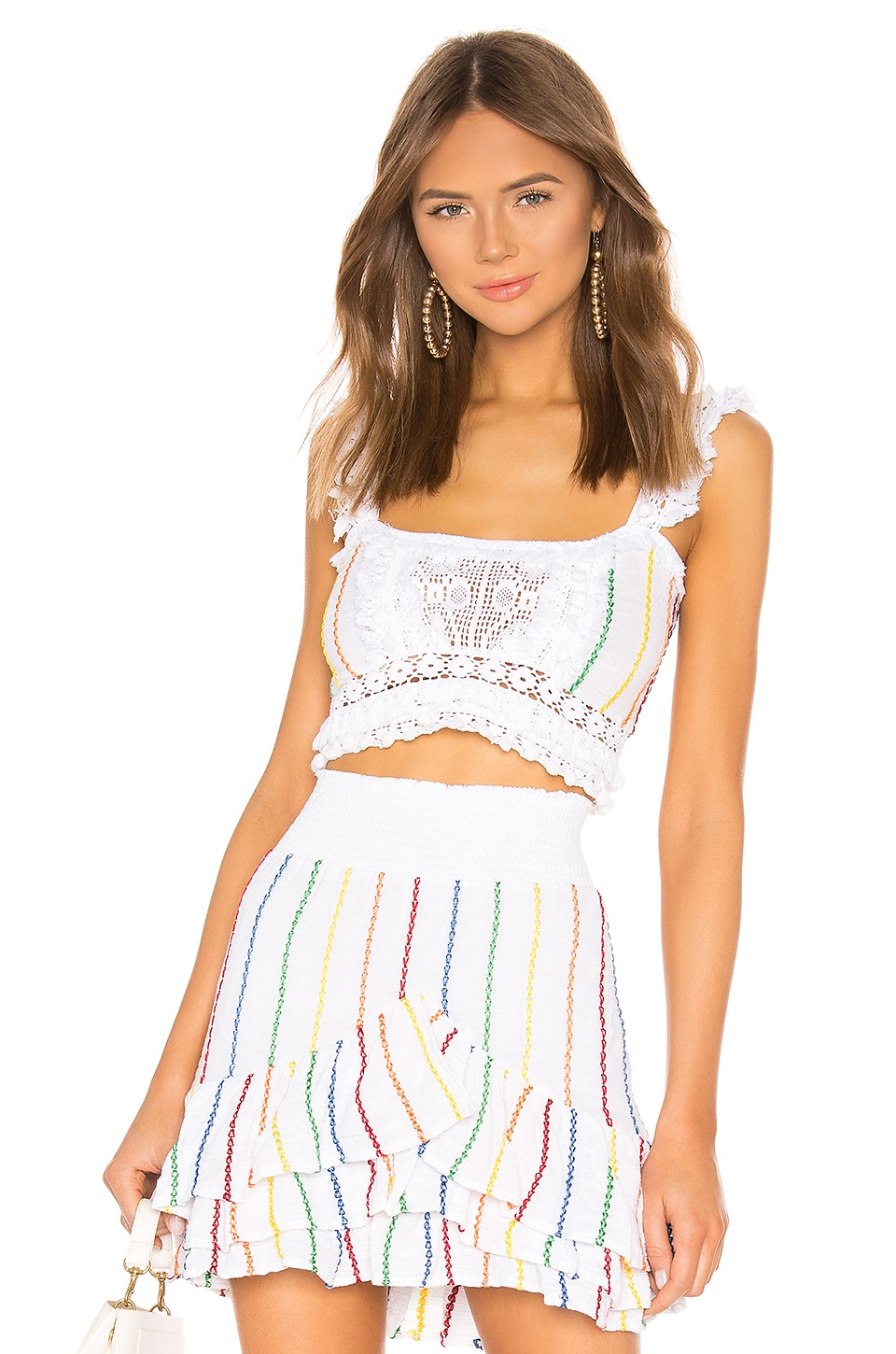 Place Nationale X REVOLVE La Garoupe Pintuck Crop Top in White Candy Stripe