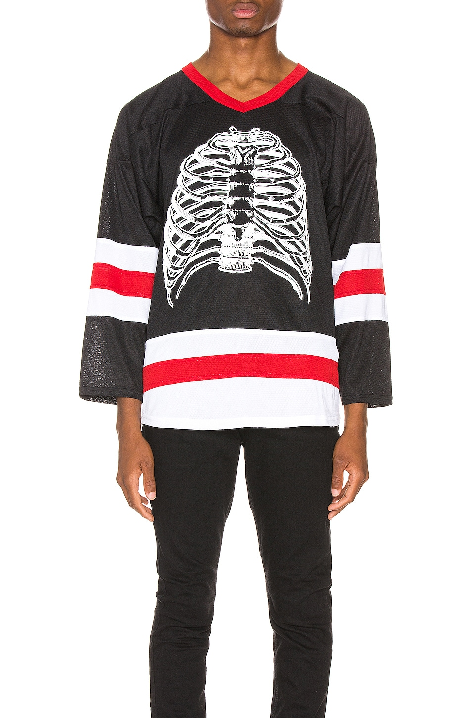 Pleasures Ribs Hockey Jersey in Black
