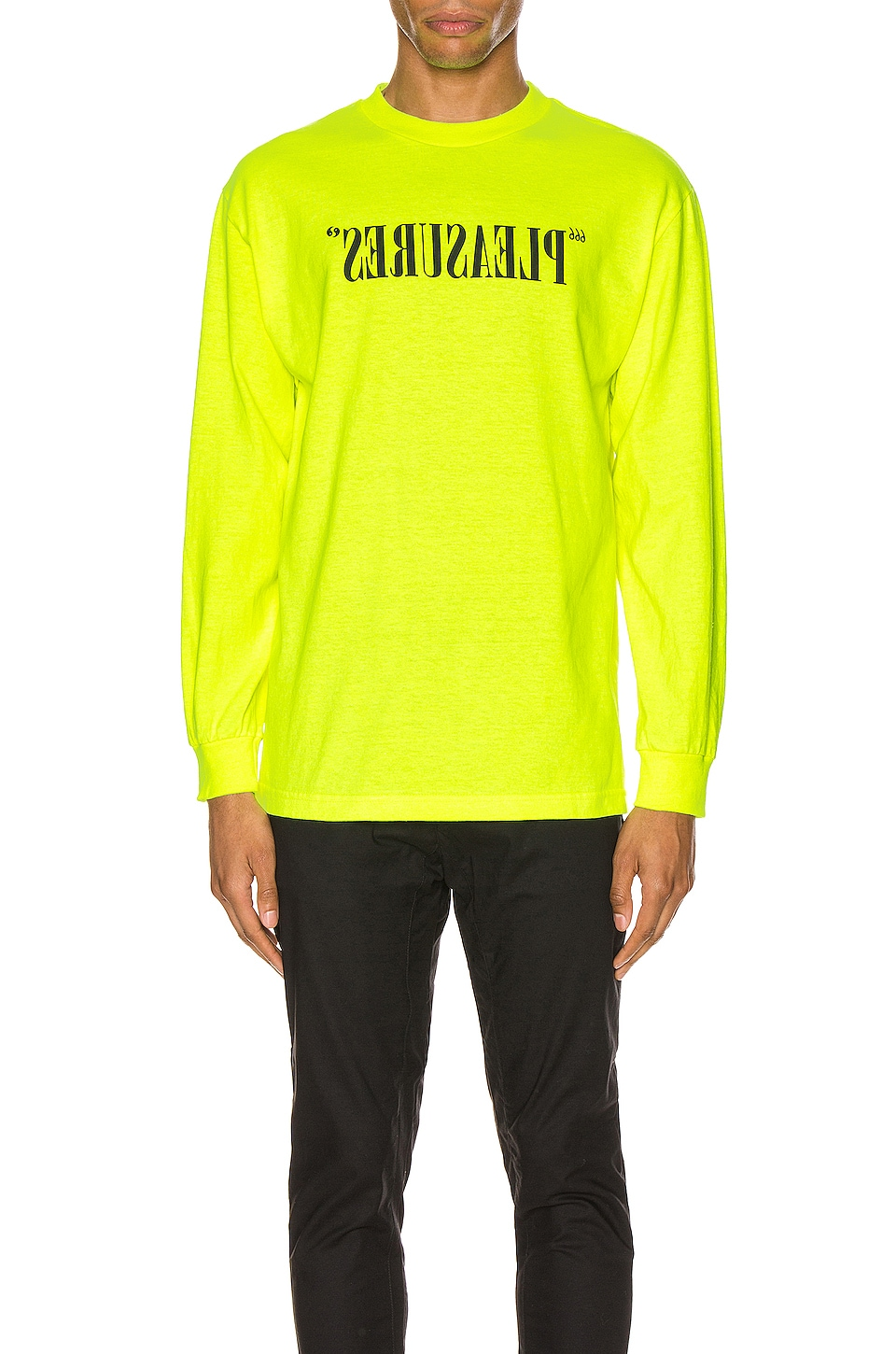 Pleasures Flipped Logo Long Sleeve Tee in Safety Green