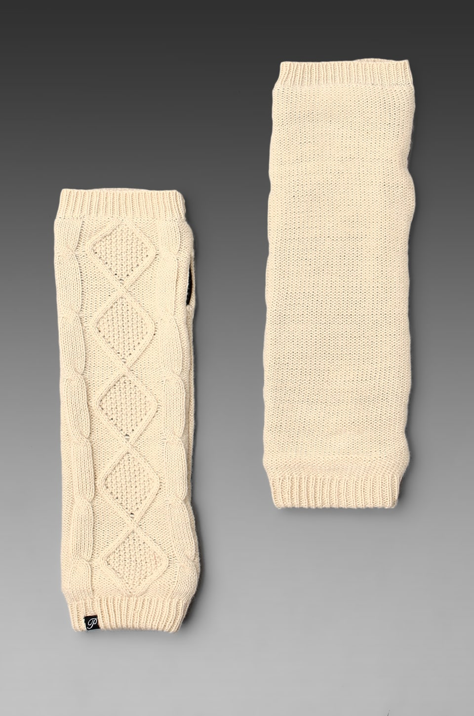 Plush Cable Knit Fleece Lined Armwarmer in Creme