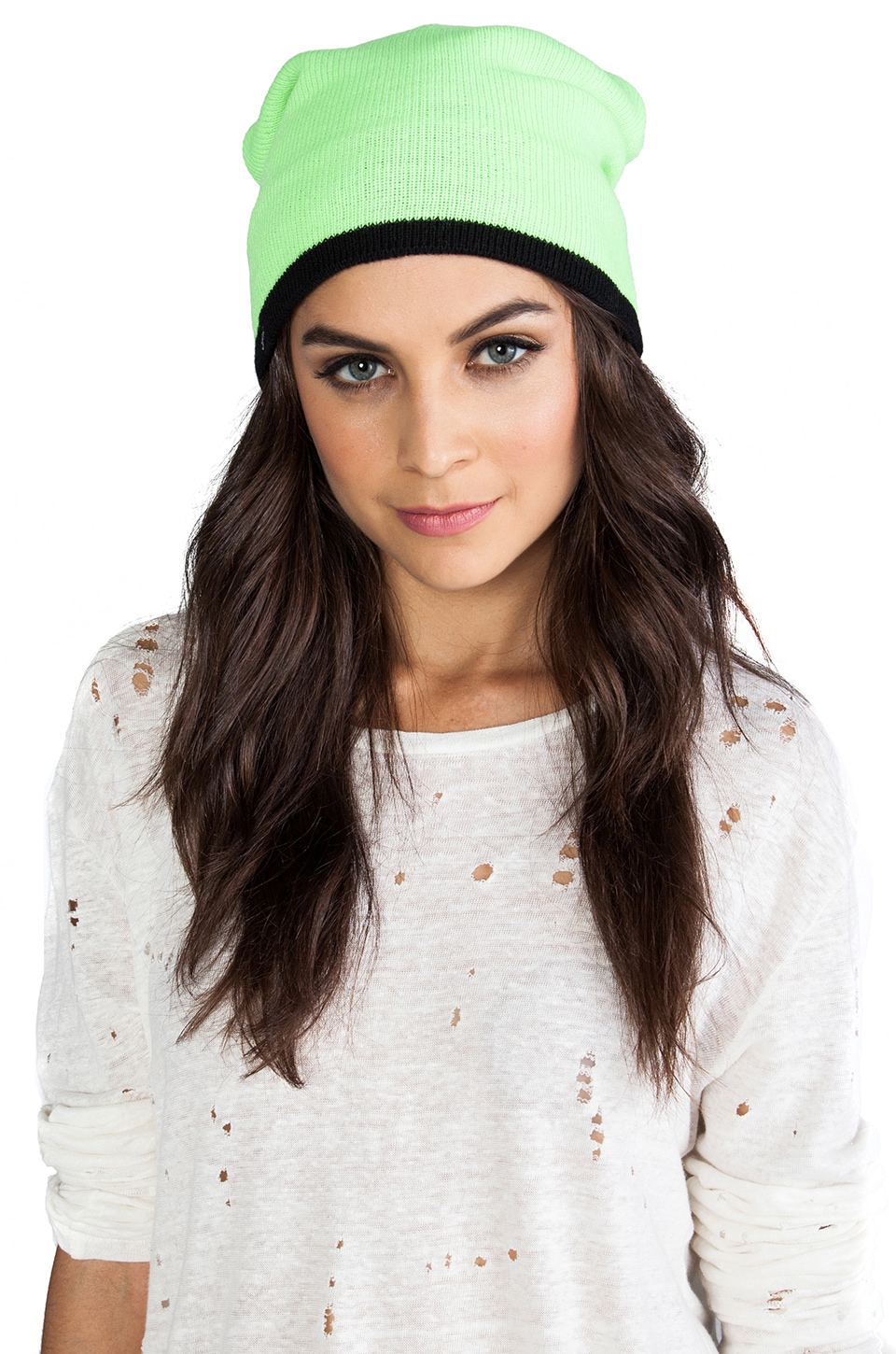 Plush Two-Toned Barca Hat in Lime/Black