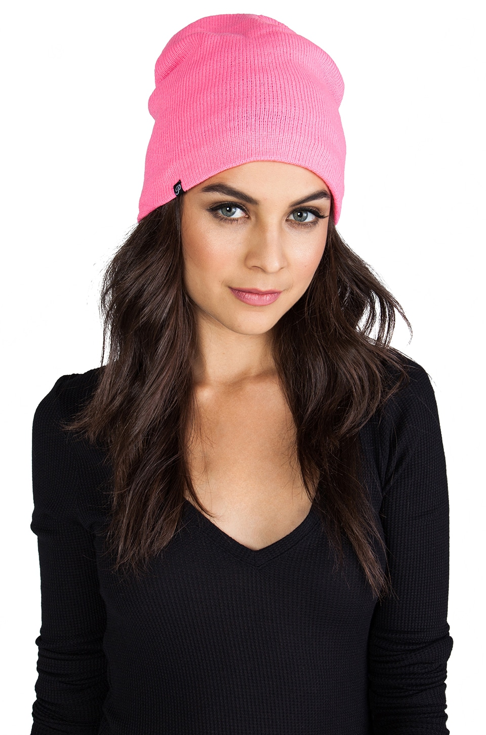 Plush Barca Slouch Beanie in Neon Pink