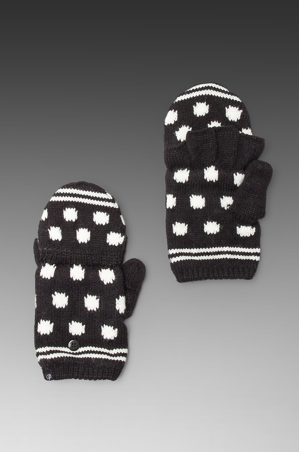 Plush Polka Dot Texting Mittens in Black/White