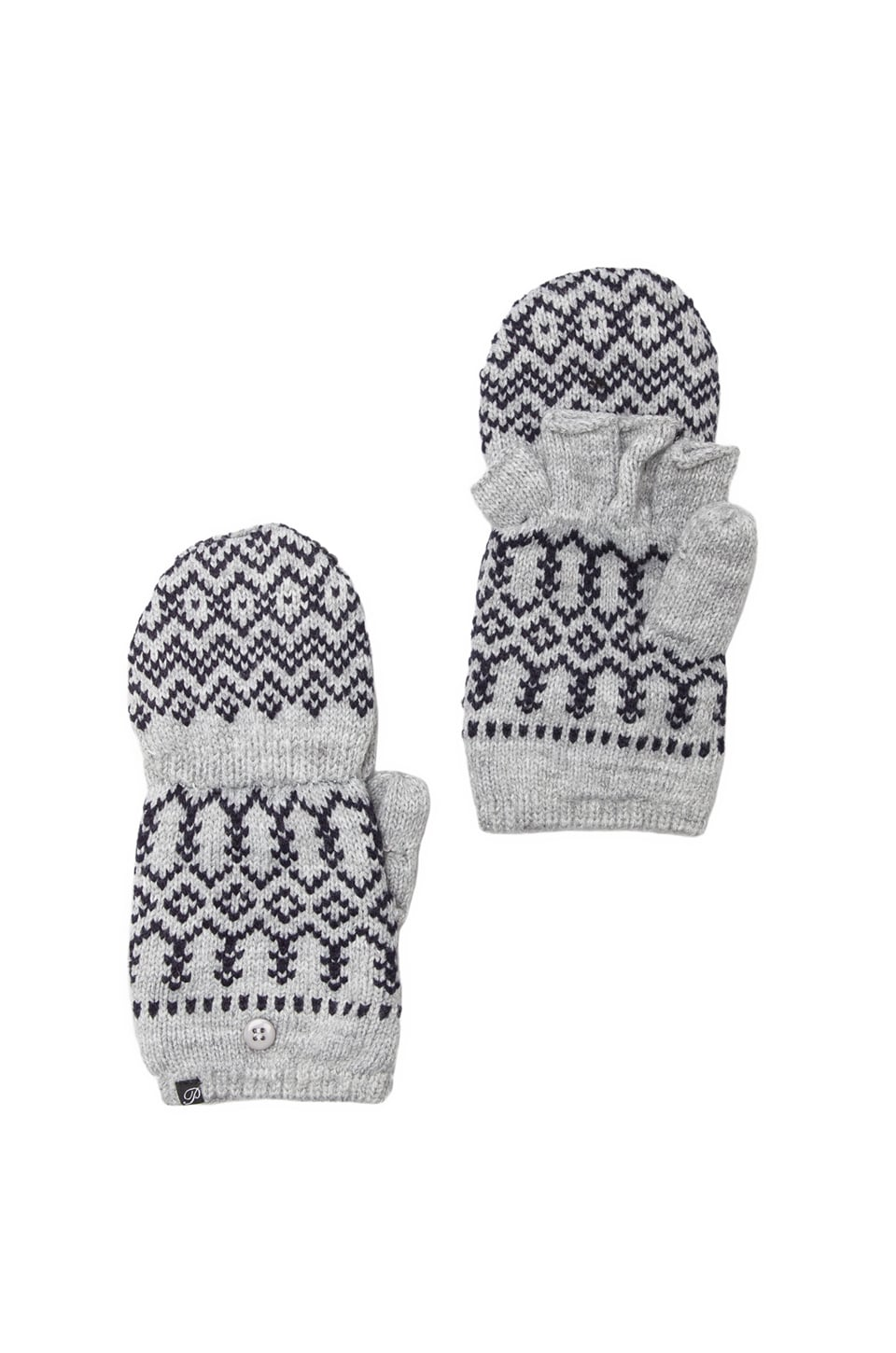 Plush Scandinavian Texting Mittens in Heather Grey/ Navy