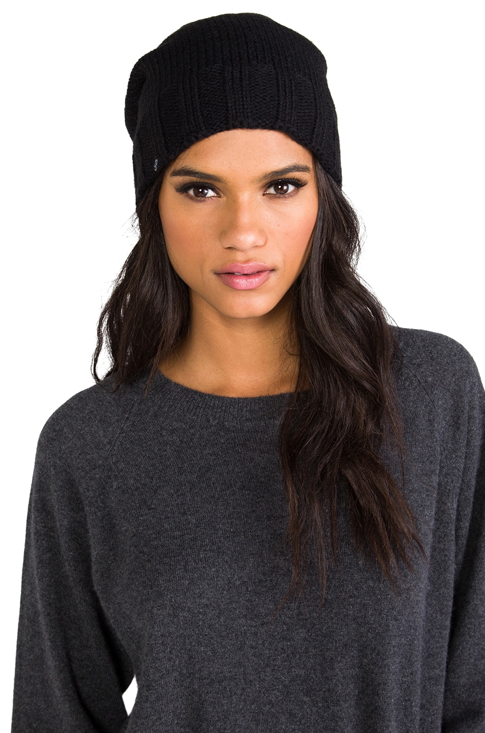 Plush Extra Slouchy Knit Beanie in Black