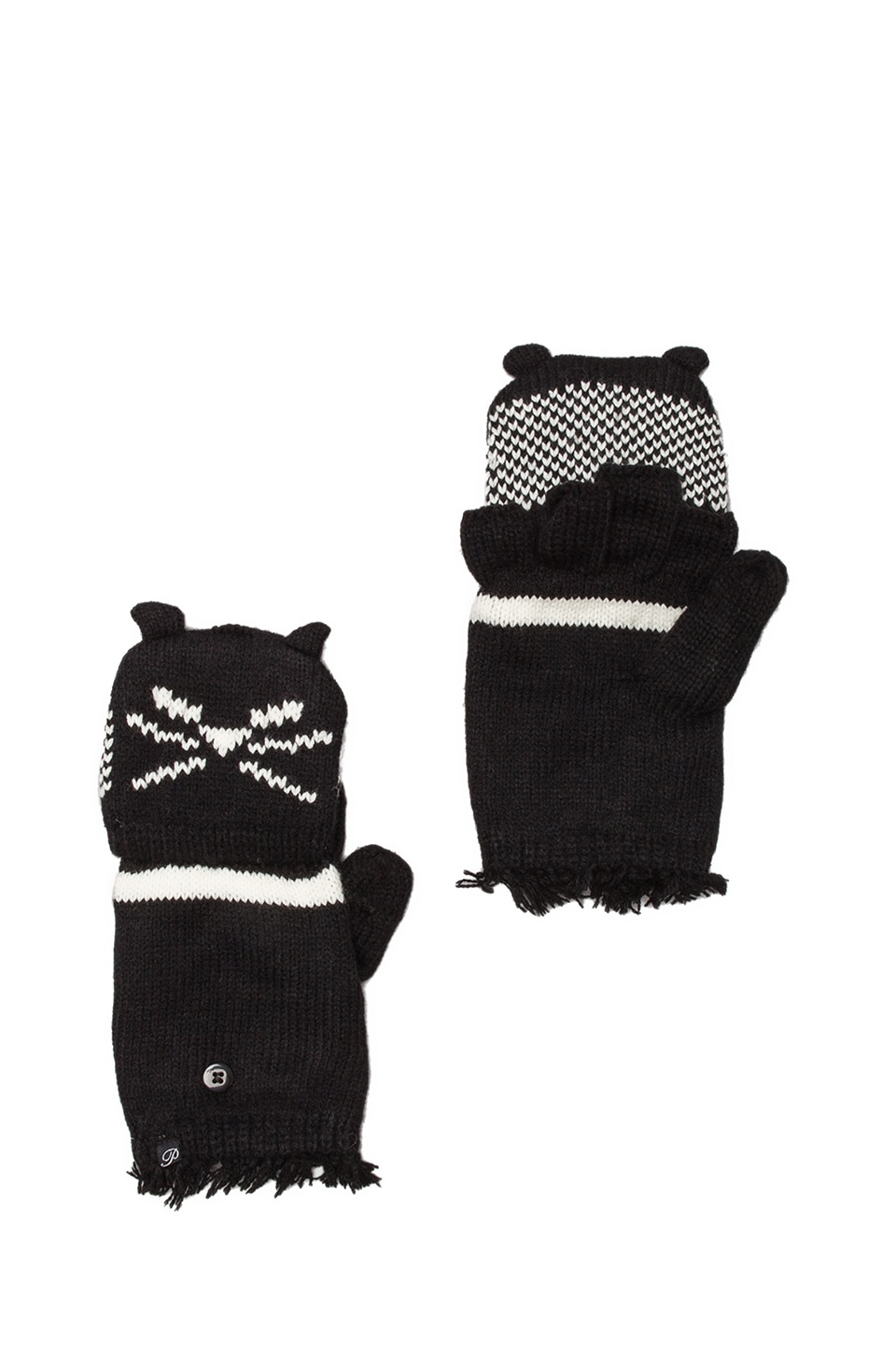 Plush Cat Texting Mittens in Black/White