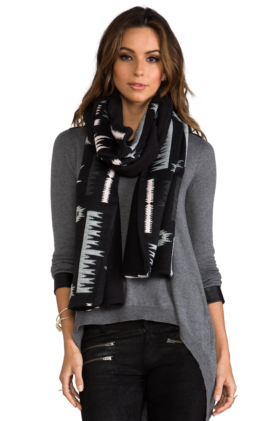 Plush Aztec Scarf in Black Aztec