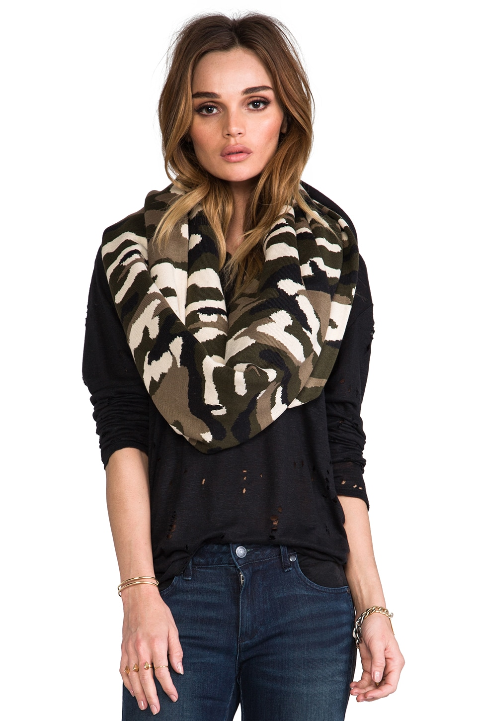Plush Fleece Lined Scarf in Green Camo