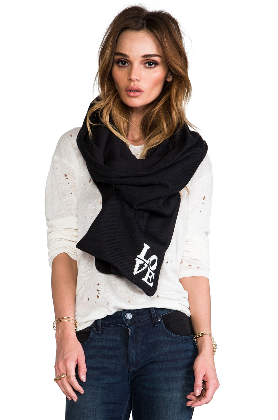 Plush LOVE Scarf in Black
