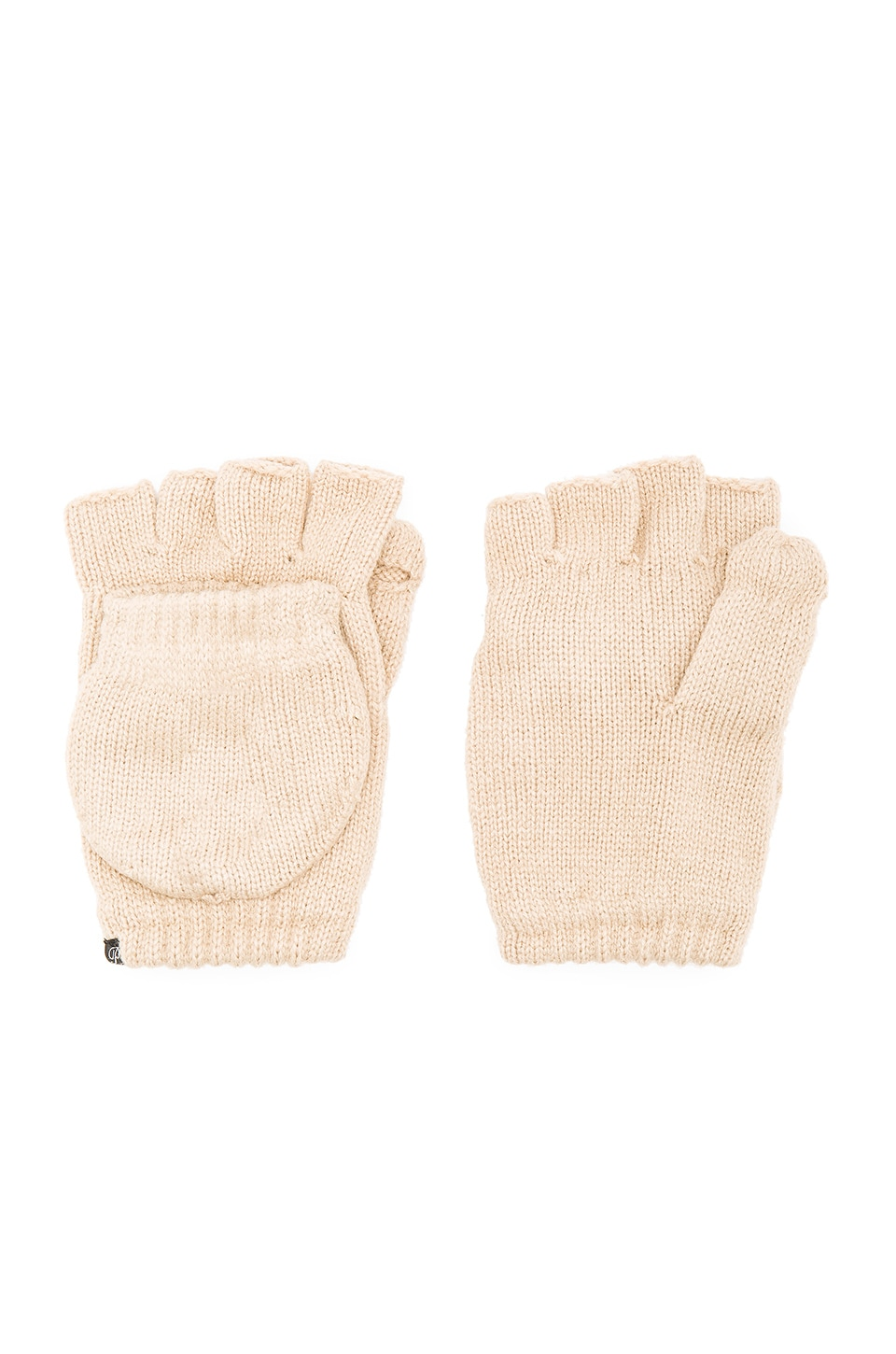 Plush Fleece Lined Texting Mittens in Tan
