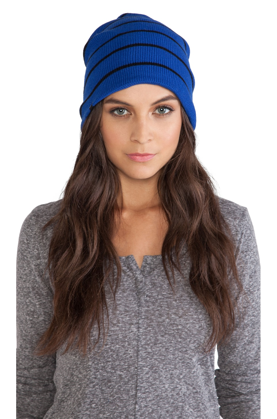 Plush Striped Fleece Lined Barca Hat in Cobalt and Black