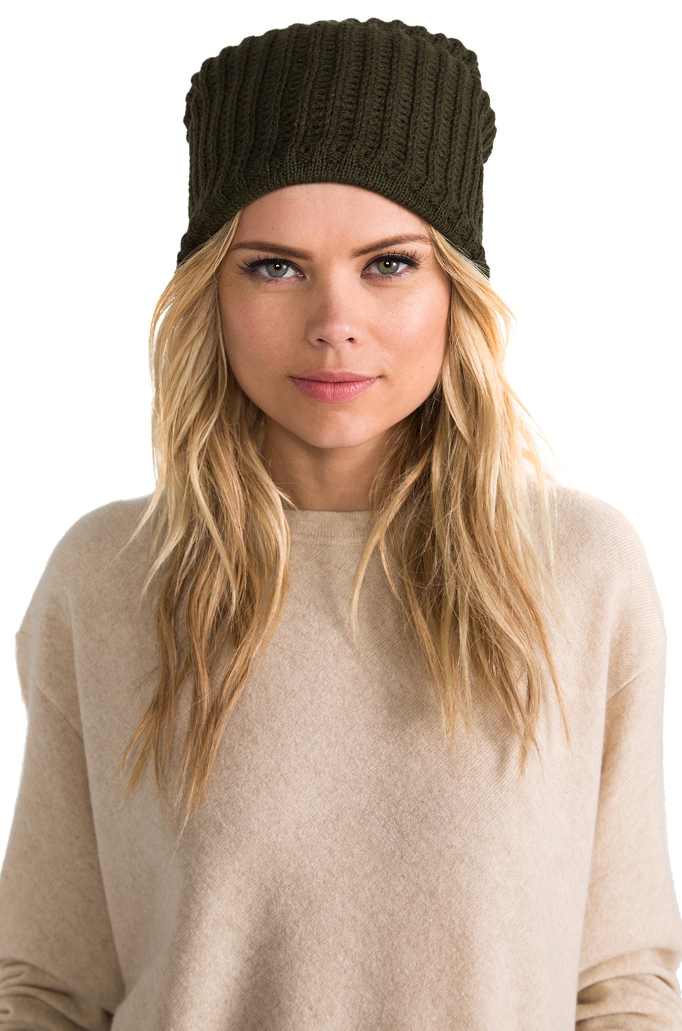 Plush Thermal Knit Beanie in Army Green