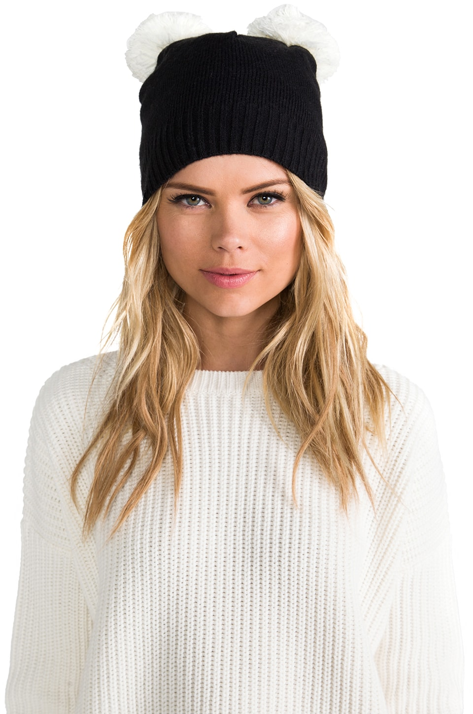 Plush Pom Pom Ear Hat in Black/White