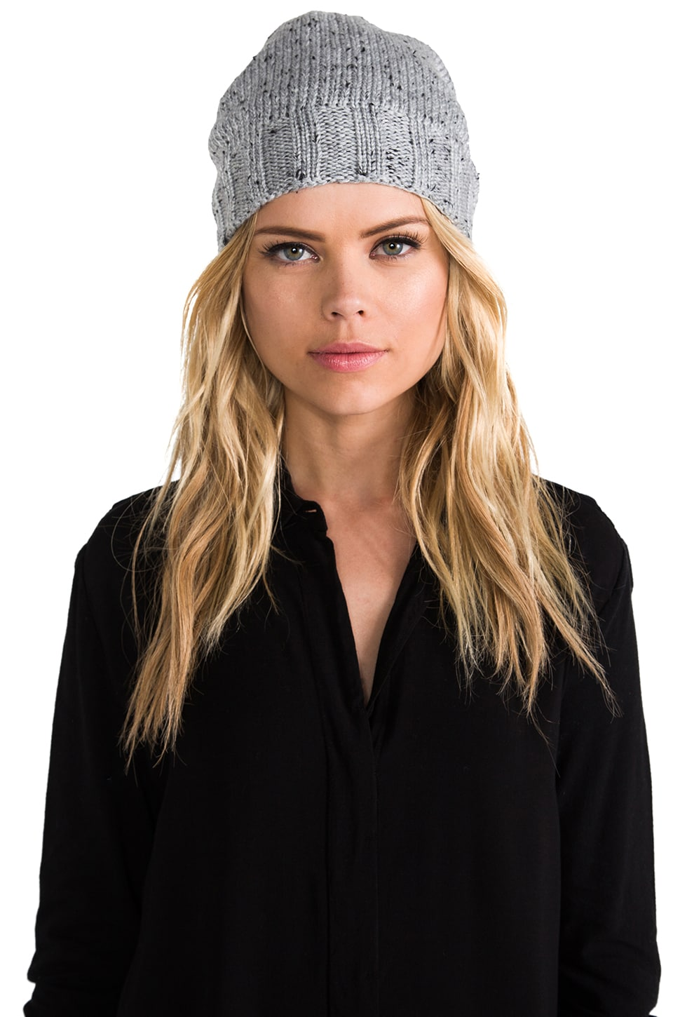 Plush Extra Slouchy Knit Beanie in Speckled Heather Grey