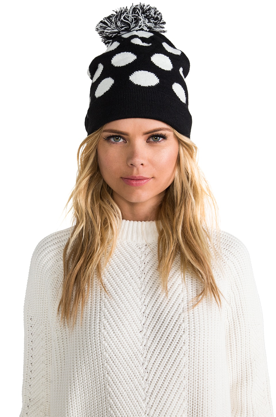 Plush Polka Dot Pom-Pom Hat in Black/White