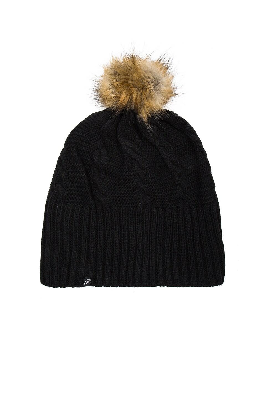 Plush Fleece-Lined Faux Fur Pom Pom Hat in Black