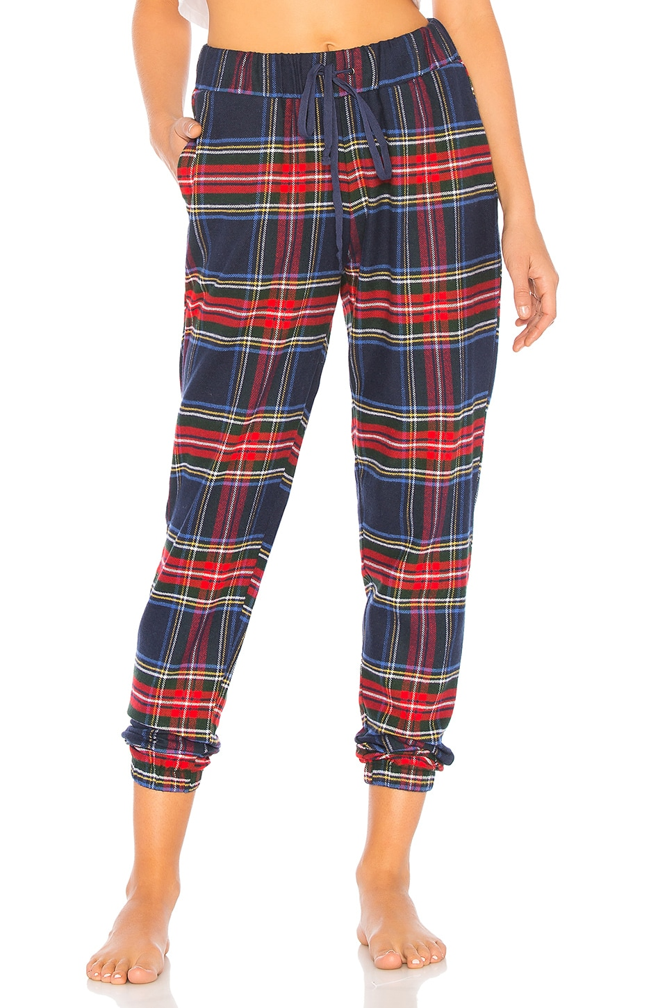 Plush Ultra Soft Flannel Jogger in Navy & Red