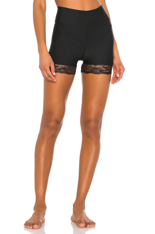 Plush Lace Trim Compression Shorts in Black