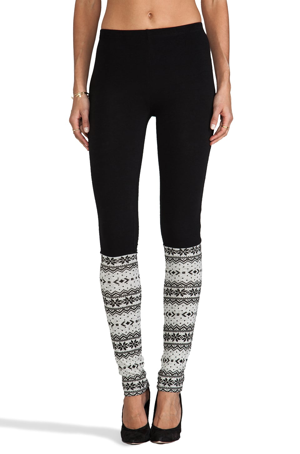 Plush Fair Isle Legwarmer Leggings in Black and Grey