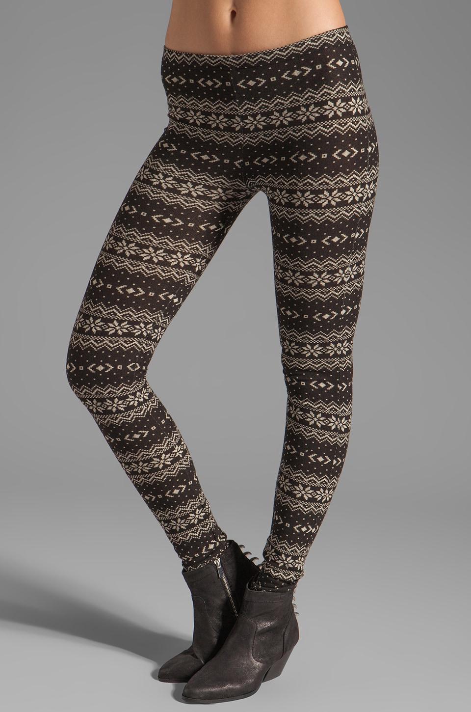 Plush Fair Isle Legging en Noir