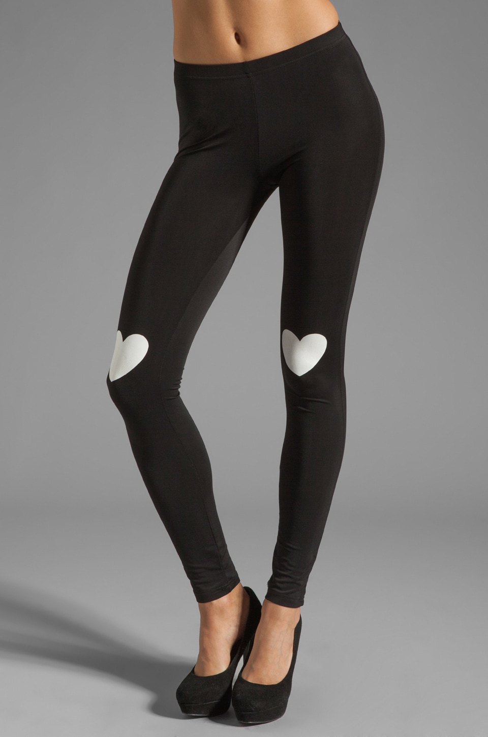 Plush Heart Print Legging in Black/White