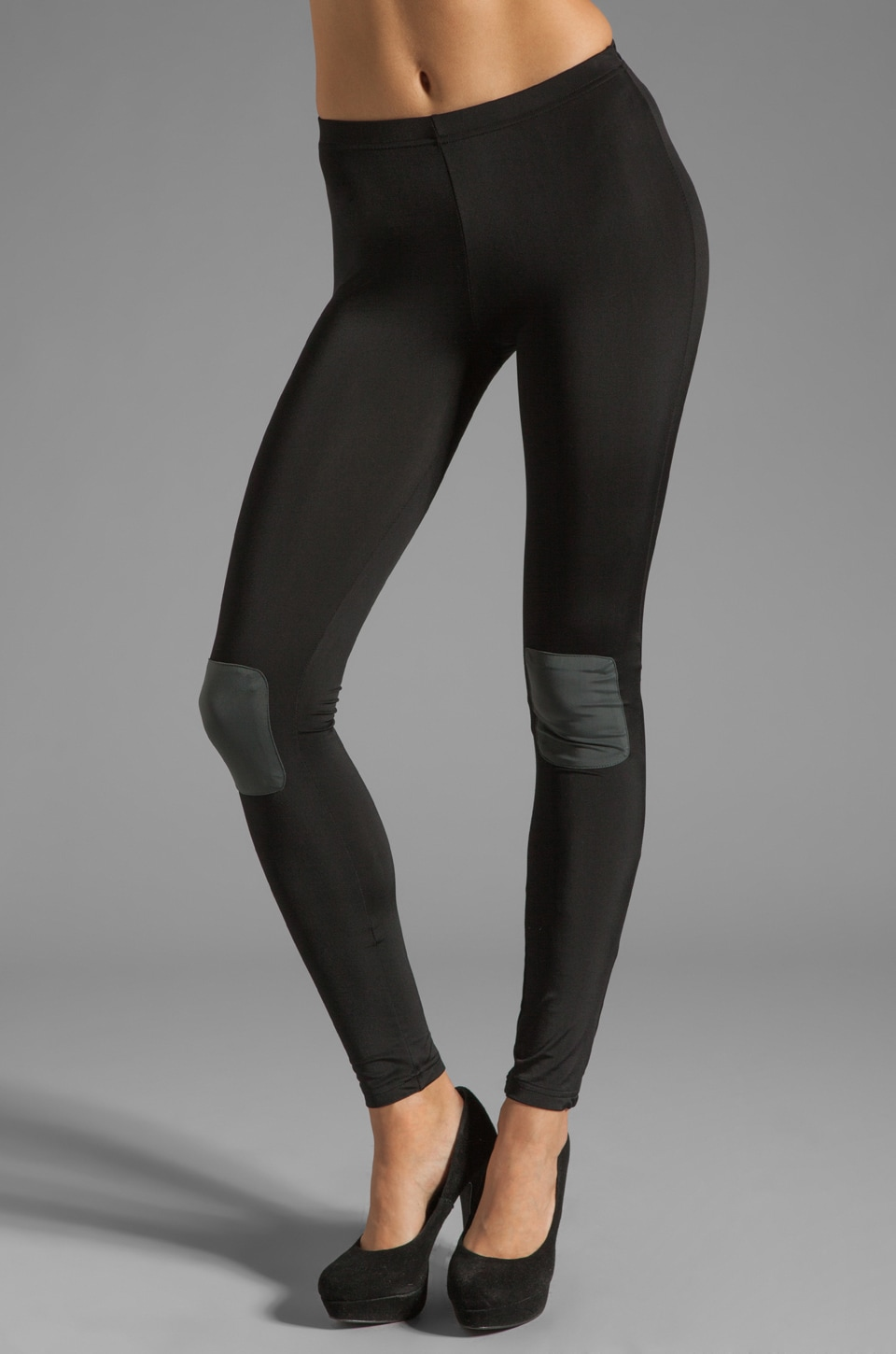 Plush Knee Patch Legging in Black/Charcoal