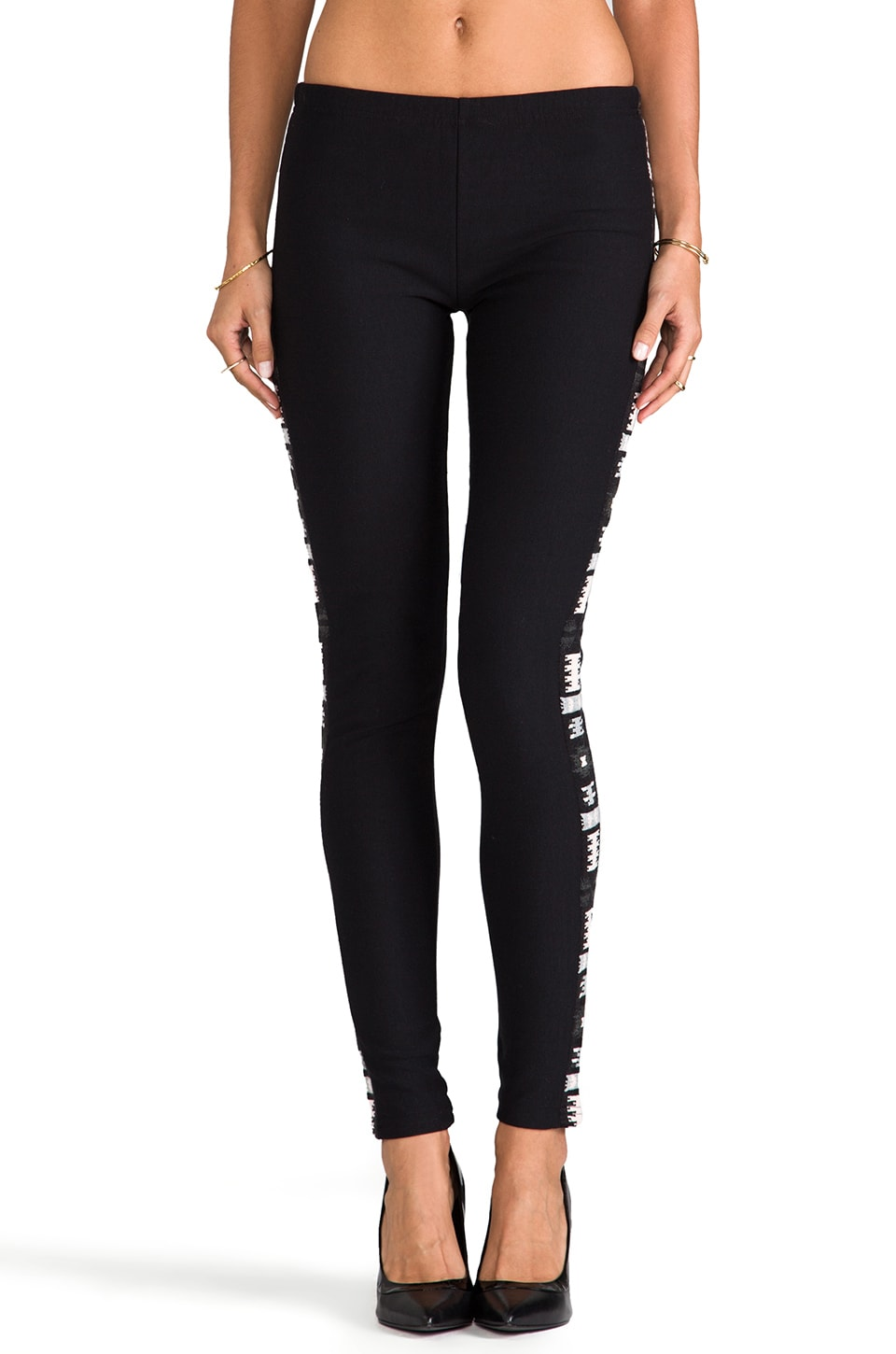 Plush Aztec Tuxedo Stripe Legging in Black Aztec Stripe