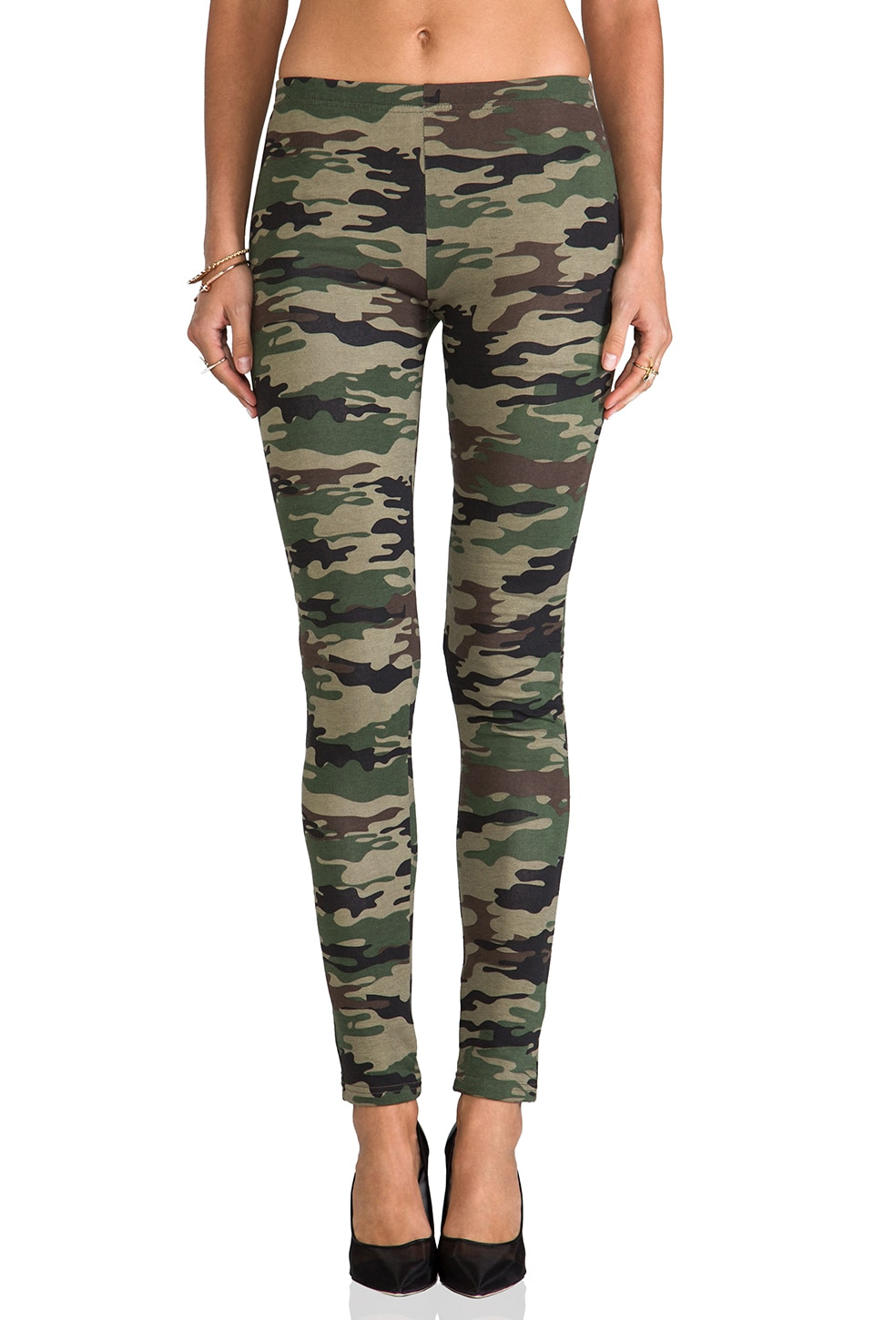 Plush Camo Print Legging in Green Camo