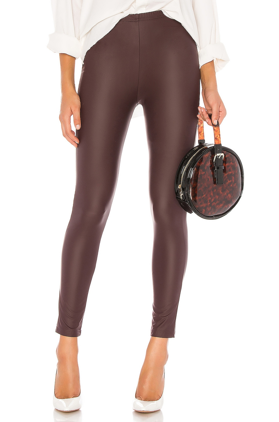 Plush Fleece Lined Liquid Legging in Wine