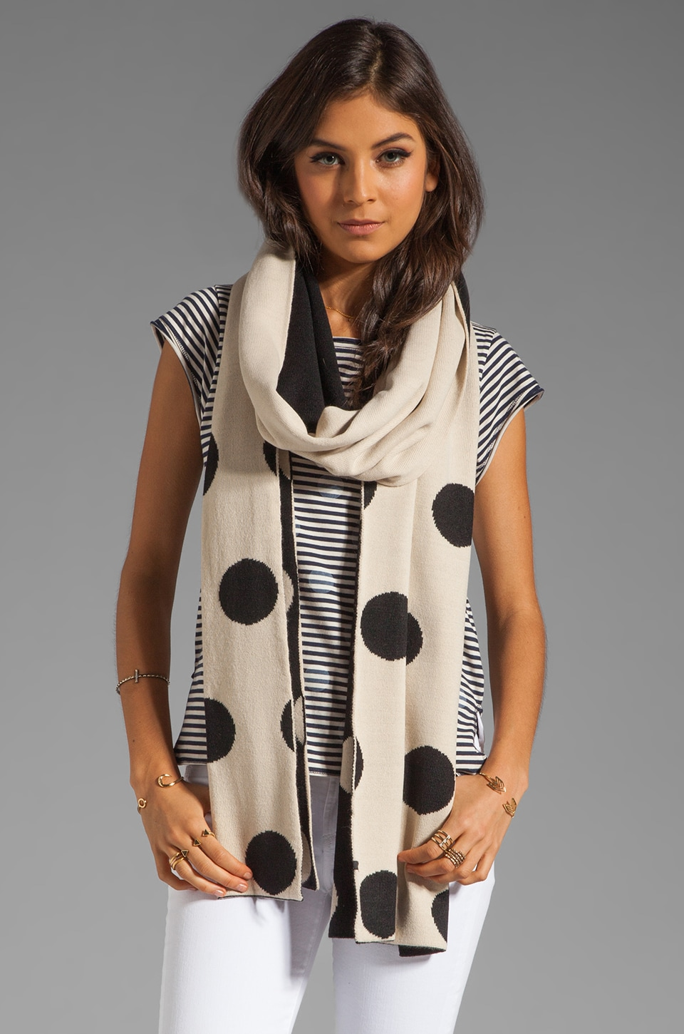 Plush Polka Dot Reversible Scarf in Black and Creme