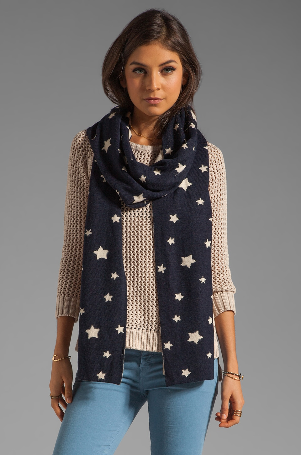 Plush Star Knit Reversible Scarf in Navy and Creme