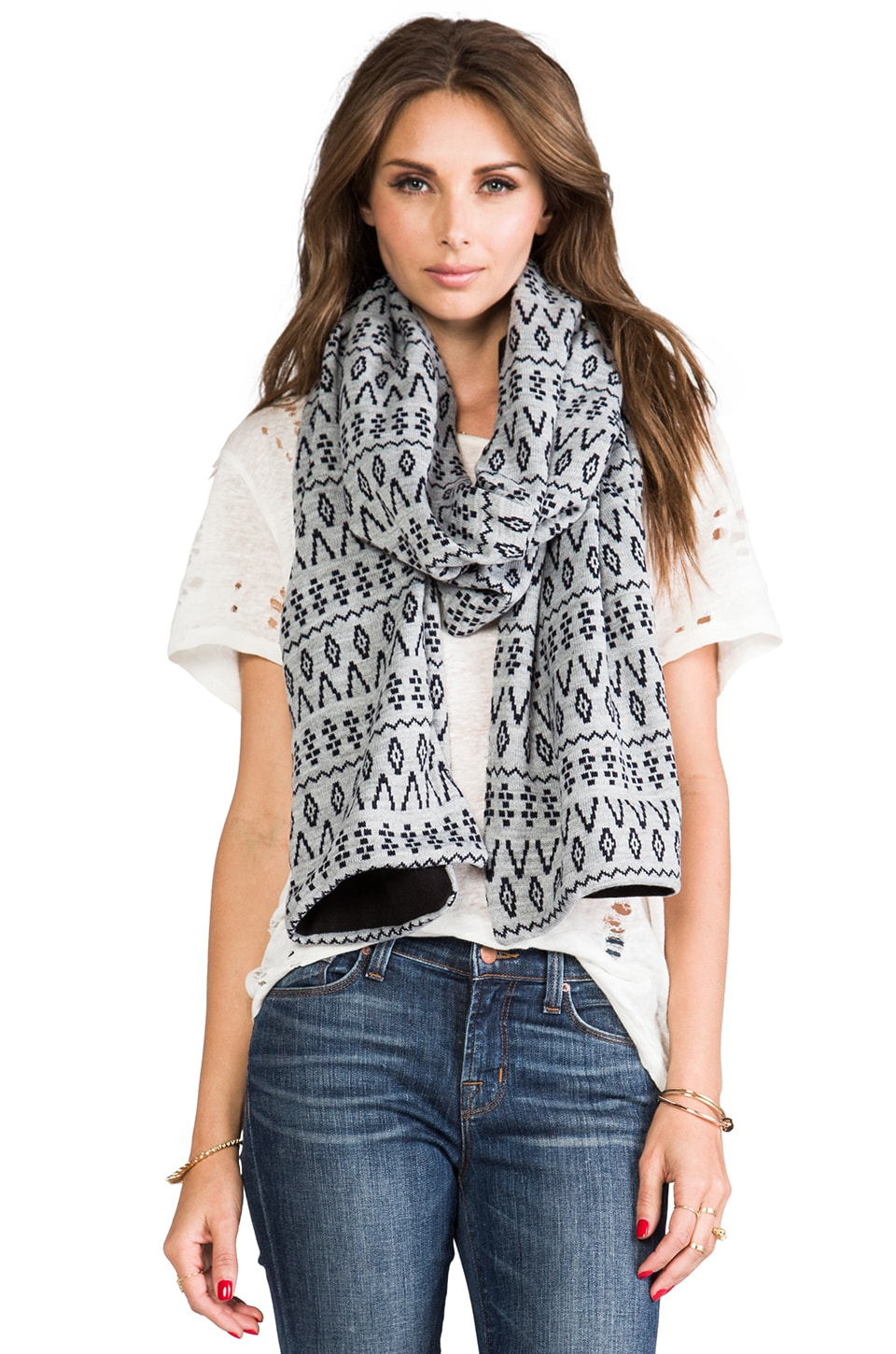 Plush Fleece Lined Scandinavian Scarf in Heather Grey/ Navy