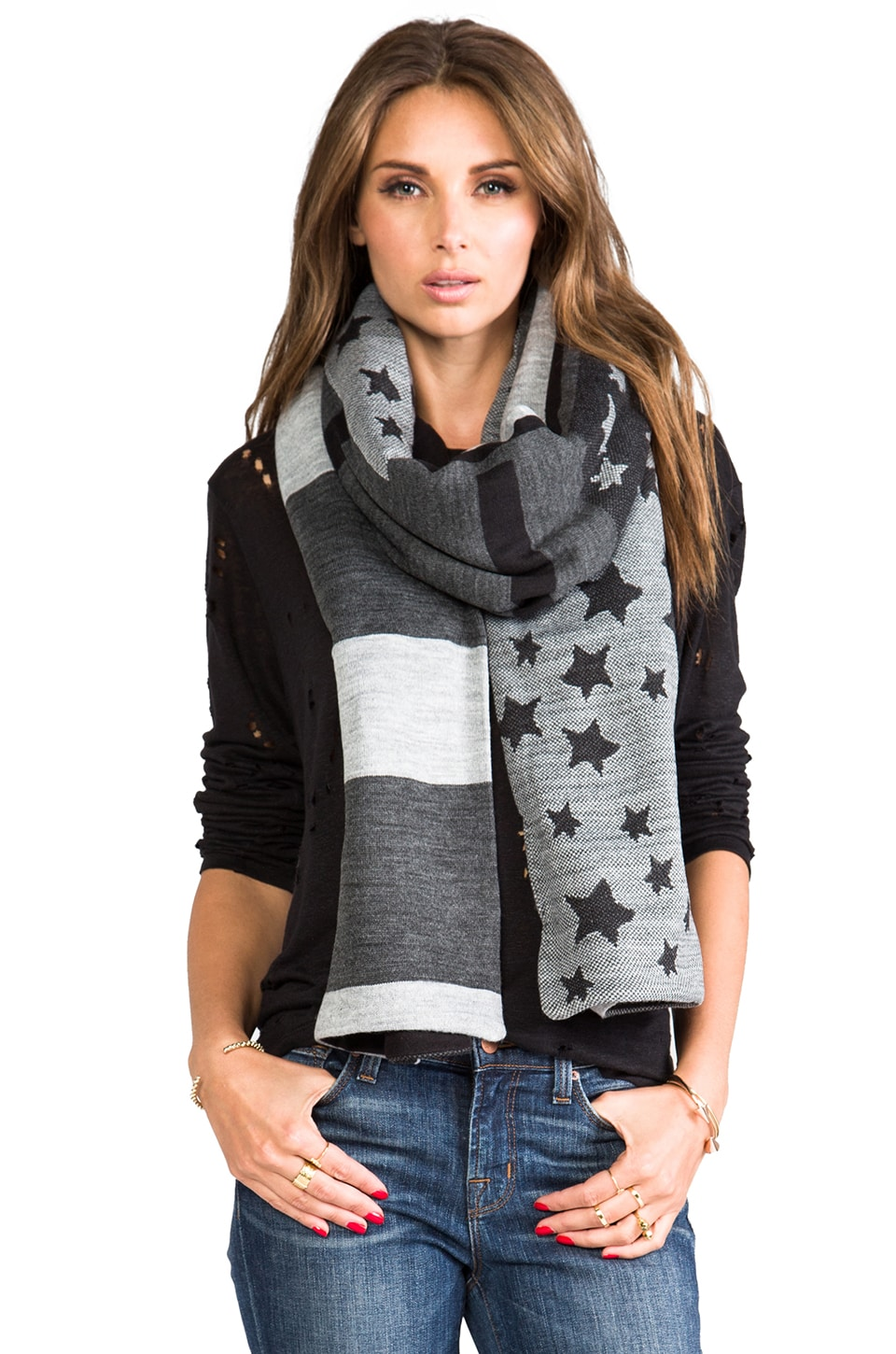Plush Stars & Stripes Scarf in Black/Heather