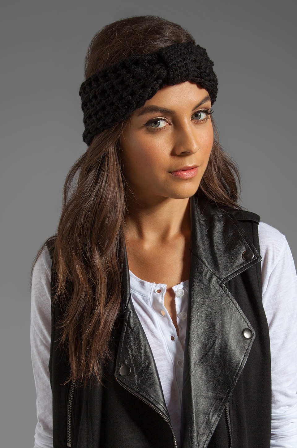 primary Hand Crocheted Cashmere Headband in Black