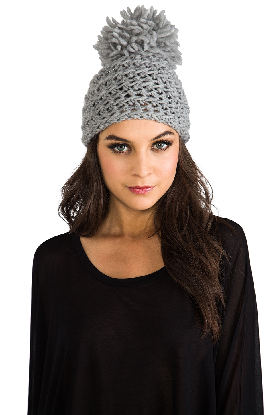 primary Hand Crocheted Toque Wool Pom Beanie in Grey