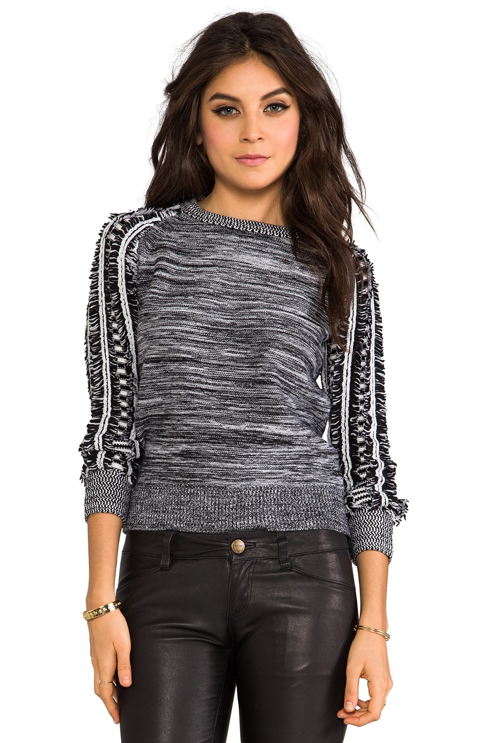 primary Moto Marled Fringe Sweater in Black/White