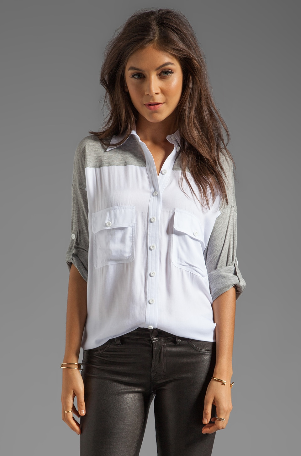 primary Combo Wingback Shirt in White/Melange Grey