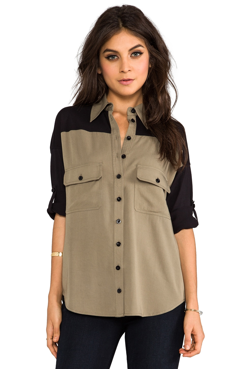 primary Combo Wingback Shirt in Military Green/Black