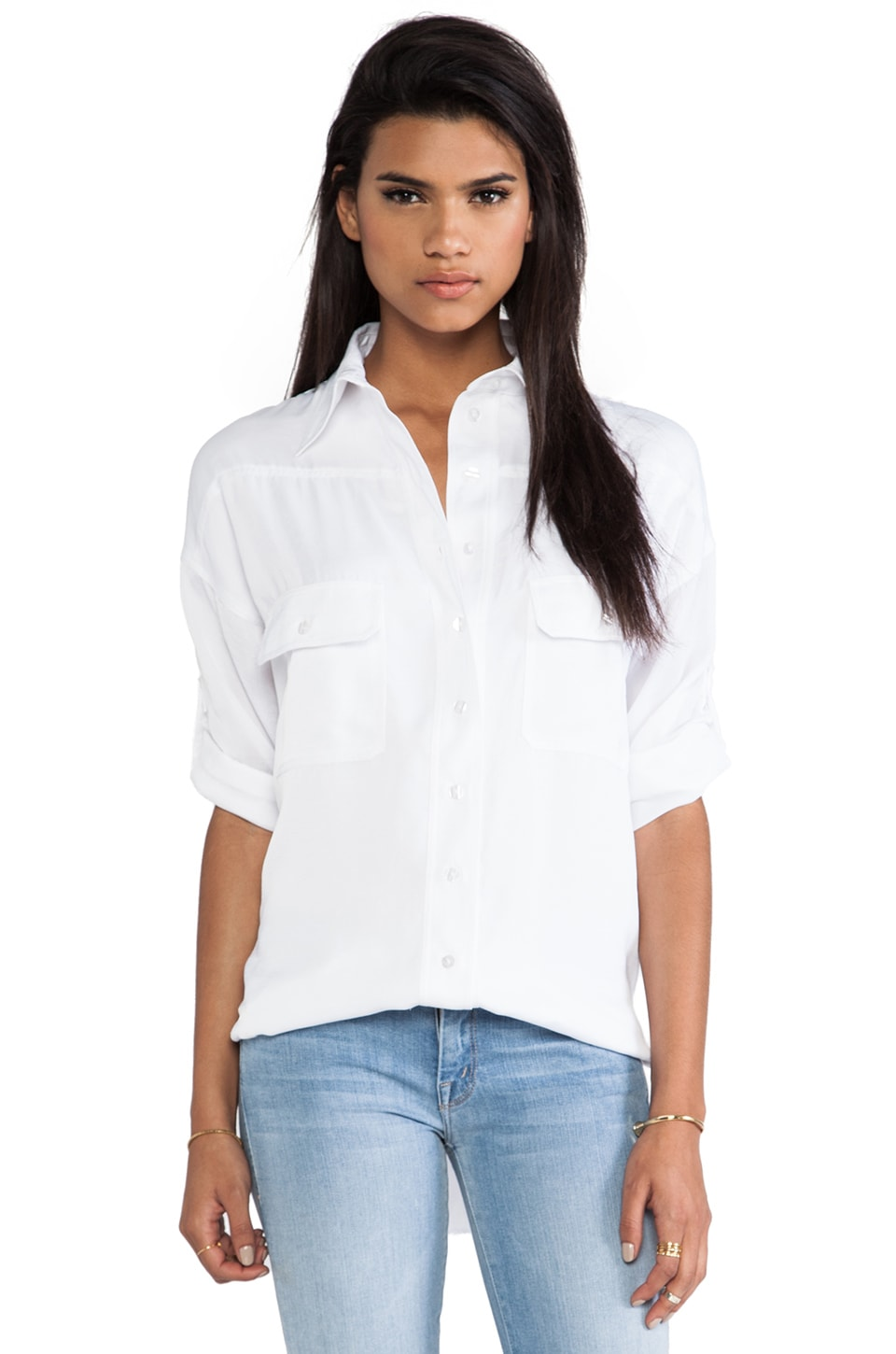 primary Wingback Camper Blouse in White