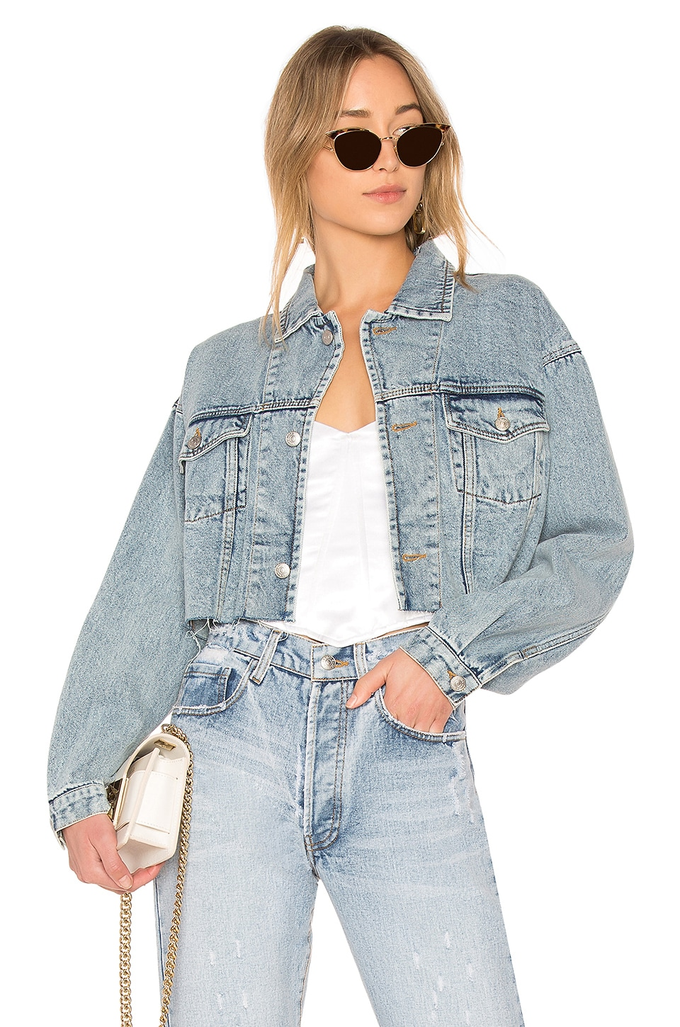 Palmer Girls x Miss Sixty Vintage Cropped Denim Jacket in Light Wash