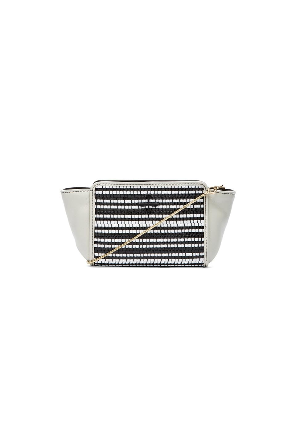 Pour La Victoire Elie Mini Crossbody Bag in Black & White Weave
