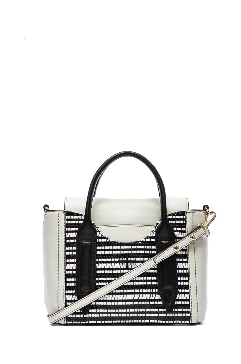 Pour La Victoire Mini Satchel in Black & White Weave