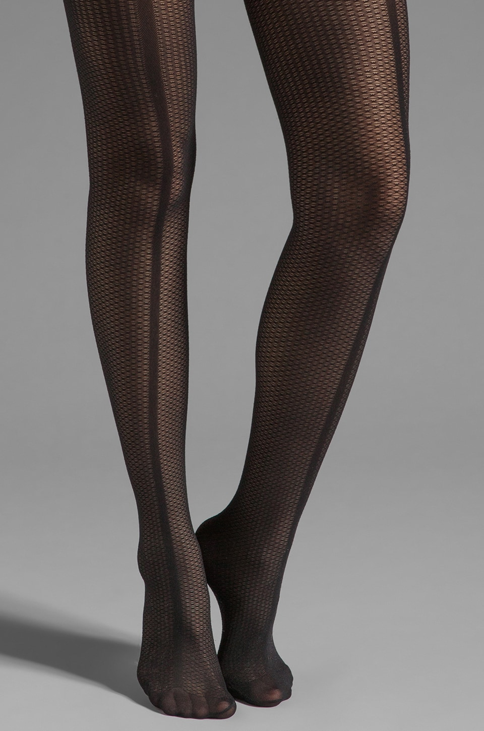 Pretty Polly Paneled Mesh Front Seam Tights in Black