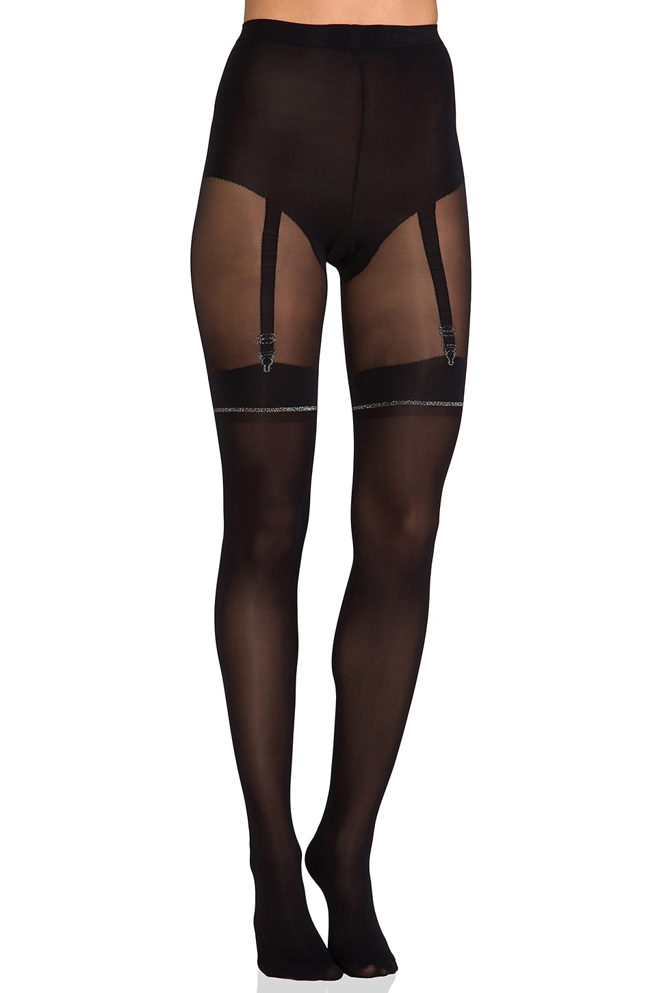 Pretty Polly Lurex Mock Suspender in Black